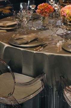 Crystal details on the napkin ring and chair seats are dazzling at The Ritz-Carlton, Atlanta.