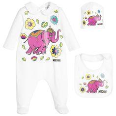 Moschino Baby - Girls Ivory Babygrow Elephant Print Gift Set   Childrensalon