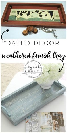 Decor Turned Weathered Finish Tray Dated decor turned weathered finish tray! Full tutorial here! Dated decor turned weathered finish tray! Full tutorial here! Easy Home Decor, Handmade Home Decor, Cheap Home Decor, Thrifty Decor, Upcycled Crafts, Easy Crafts, Upcycled Home Decor, Ideas Para Madera, Furniture Makeover