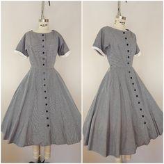 Vintage 1950s Dress / Black and White Tiny Houndstooth Cotton Dress / 50s Dress / XS