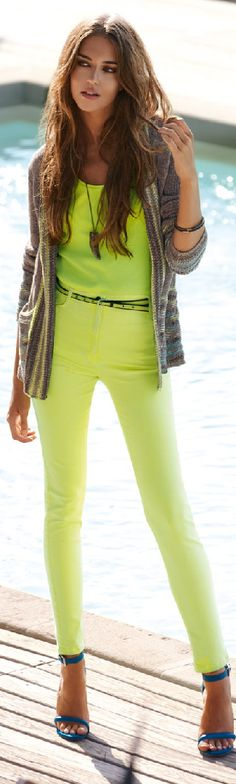 lime green pants. love her strappy heels!