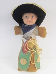 Antique Composition #RIDE'emCOWBOY Vintage Doll Cloth All Original with miniature diecast pistol & holder. Great piece of Western toy memorabilia, 1930's.