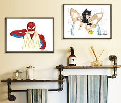 5 Steps to the Perfect Superhero Bedroom - Twin Pickle Bathroom Decals, Zen Bathroom, Bathroom Wall Decor, Small Bathroom, Bathrooms, Kids Wall Decor, Boys Room Decor, Bedroom Decor, Bedroom Ideas
