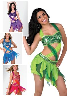 S073 - Rumba De Bongo - For the dancer with Latin flavor we love this sassy bra top and skirt number. Comes in Fuchsia, Bright Green, Royal Blue and Purple.
