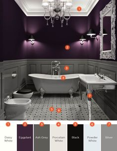 20 Relaxing Bathroom Color Schemes If you want to create a new look in your bathroom, but want to avoid a complete interior overhaul, consider tweaking your color scheme and decor. Dark Purple Bathroom, Tan Bathroom, Bathroom Wall Colors, Relaxing Bathroom, Purple Bathrooms, Bathroom Color Schemes, Small Bathroom, Dark Purple Bedrooms, Dark Purple Walls