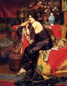 A Harem Beauty Seated on a Leopard Skin by Frederic Louis Leve