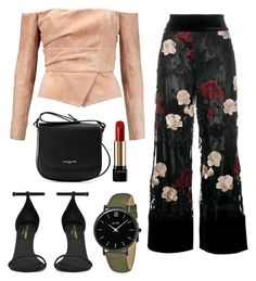 """Sans titre #365"" by dailymakeuup on Polyvore featuring mode, Balmain, Ganni, Yves Saint Laurent, Lancaster, CLUSE et Lancôme"