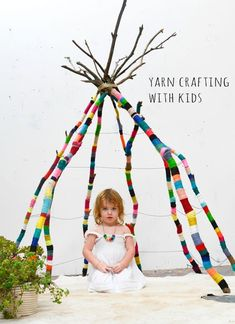 Tipi with just the Structure. DIY yarn wrapped branch teepee by Nathalie Miller Diy Tipi, Yarn Bombing, Guerilla Knitting, Deco Kids, Ideias Diy, Nature Crafts, Kid Spaces, Diy For Kids, Kids Playing