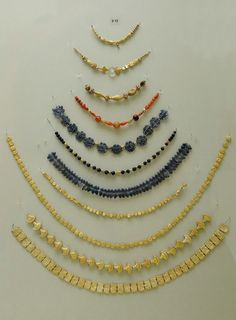 Crete-Heraklion Museum-Necklaces of gold, sard, rock crystal, glass paste-Final Palatial 1400-1300 BC.