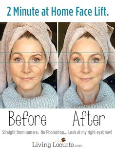 An amazing 2 minute at home DIY Face Lift. Before and after photos using a beauty product. LivingLocurto.com