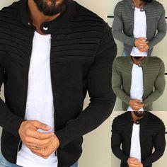 Men Casual Pleated Long Sleeve Slim Solid Color Sweatshirt Coat Jacket Outwear Military Trench Coat, Herren Winter, Mens Winter, Sport Outfit, Polyester Material, Windbreaker Jacket, Bomber Jacket, Motorcycle Jacket, Sweater Jacket