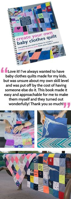 Such a cute idea to do with old baby clothes - DIY baby clothes quilt! Pinning this book for later, this is exactly how I want my quilt to look. Diy Baby Clothes Quilt, Old Baby Clothes, Diy Clothes, Fashion Clothes, Unique Mothers Day Gifts, Unique Baby Shower Gifts, Baby Quilts, Memory Quilts, Kid Quilts