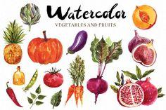 Watercolor vegetables & fruits - Illustrations