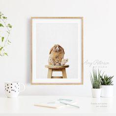 Pudge Bunny Rabbit Sitting On Stool Art Print Woodland Bunny   Etsy