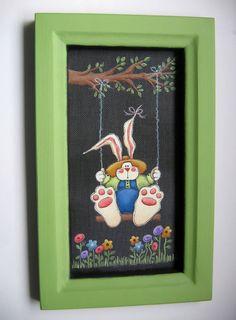 Folk Art Bunny Swing from Tree Branch Framed by barbsheartstrokes, $27.00