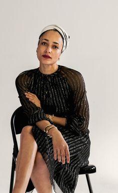 6eac62d1edd Author Zadie Smith styles  altuzarra s Lela striped silk-blend chiffon  dress - exclusive to
