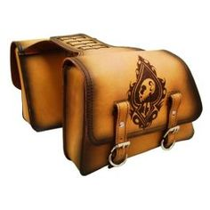UNIVERSAL THROW OVER SADDLE BAG SET ANTIQUE TAN LEATHER LUCKY SPADE SKULL ORSBTO0219LRD - LCS Motorparts