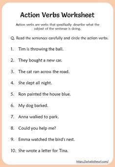 Action Verbs Worksheets grade - Your Home Teacher 4th Grade Reading Worksheets, Nouns And Verbs Worksheets, First Grade Reading Comprehension, Adjective Worksheet, Grammar For Kids, Teaching English Grammar, English Grammar Worksheets, Action Verbs, Adverbs