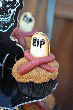 Halloween Halloween Party Ideas | Photo 21 of 150 | Catch My Party; would definitely use crushed oreos as the dirt tho~