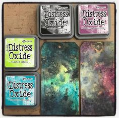 """New Tim Holtz distress oxide inks in action. Black soot - a """"must have""""! Simple Pleasures Rubber Stamps and Scrapbooking, Colorado Springs, CO"""