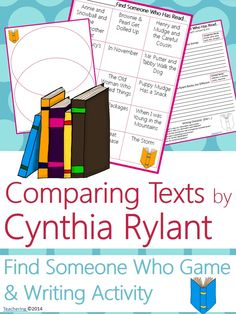 """Cynthia Rylant Author Study activities: """"Find Someone Who Has Read"""" game and comparison contrast writing activity about Rylant's books! Fun opening or closing activity for an author study-- aligned to Common Core! TONS of  other author studies in this store! #Teachering"""