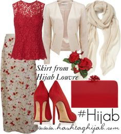 Hashtag Hijab Outfit: Red Not really feeling the skirt tho. Modest Wear, Modest Outfits, Skirt Outfits, Cute Outfits, Hijab Style, Hijab Chic, Islamic Fashion, Muslim Fashion, Hashtag Hijab
