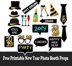 Free Printable New Year 2019 Photo Booth Props Free Printable