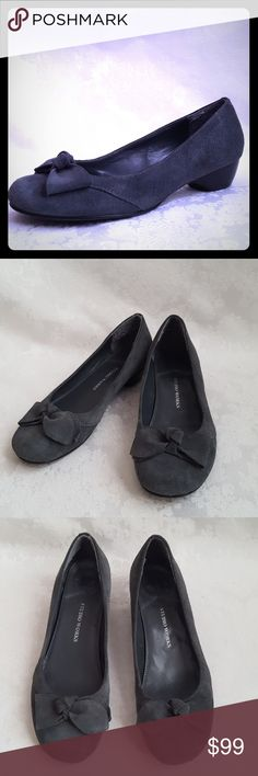 """Gray Suede Leather Low Heel Flats Studio Works low heel gray suede leather flats with 1 1/4"""" wood heel. Rubber sole on ball. Genuine leather. Cute bow accent. Style is """"SANDRA"""". Smokey grey.  Excellent used condition. Smoke free and pet free home.   Check out my other listings - 100's of 👠shoes👠, 👢boots👢 and 👜bags👜. Bundle 2 or more and save money!💲💰💲 Studio Works Shoes Flats & Loafers"""