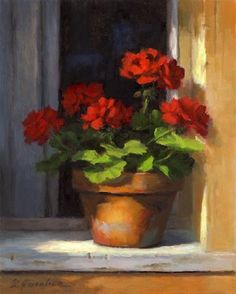 """Geraniums on Sill"" - Original Fine Art for Sale - © Linda Jacobus"