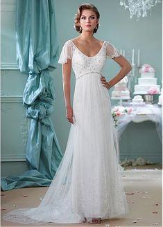 Chic Tulle Scoop Neckline A-line Wedding Dresses with Beaded Embroidery