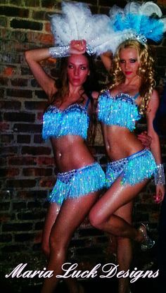 Sexy aqua blue & white vegas showgirl costume with by marialuck, $250.00