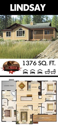 The Lindsay model is a quaint, 1376 sq. ft. bungalow, designed with a modest living state of mind. #BeaverHomesAndCottages
