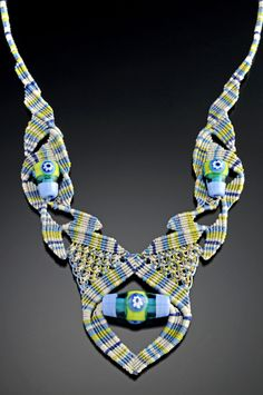 Bernadette Scarani Mahfood Bead Necklace, Lime & Periwinkle Plaid
