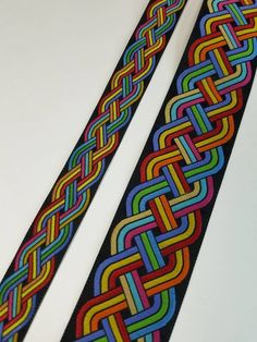 Rainbow Celtic knot two sizes sold by the yard Inkle Weaving, Inkle Loom, Tablet Weaving, Fabric Ribbon, Woven Fabric, Celtic Knot, Weaving Patterns, Polar Fleece, Knots