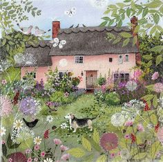 Suffolk artist illustrator Lucy Grossmith is Heart To Art. Limited edition prints and paintings of Suffolk countryside and coast for sale, private commissions Garden Painting, Garden Art, Painting & Drawing, Art And Illustration, Cottage Art, Rose Cottage, Photo Images, Dibujos Cute, Pink Houses