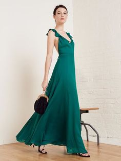 The Isabella is for weddings, parties, or whatever fancy event thing you have to attend. This is a fully lined, floor length dress with a ruffle edged bodice and open back.