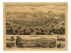 Healdsburg, California - Panoramic Map Art Print at Art.com