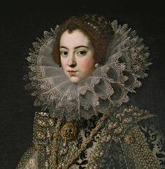 Isabel de Borbón.  Rodrigo de Villadrando. Lleva en el pecho el Joyel de los Austrias. Un agua marina llamada El Estanque por su forma cuadrada y la perla La Peregrina colgando.
