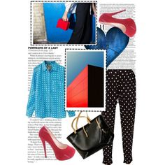blue and red by walkthisland on Polyvore featuring  tinydeal