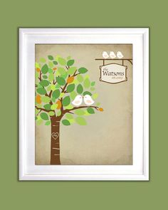 """Family Tree with kissing love birds - 8x10"""" - Personalized Print. $22.00, via Etsy."""
