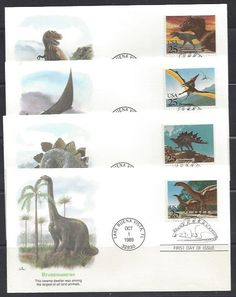 #2422-2425 Dinosaur stamps, First Day Cover with Balke cachet