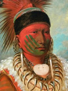 "Native American Art - ""The White Cloud, Head Chief of the Iowas"" (1844)"