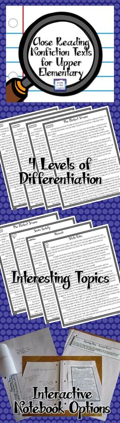 Differentiated Nonfiction Close Reading Comprehension Passages and Questions for Upper Elementary - Each text is discreetly differentiated into FIVE levels of difficulty, with reading levels ranging from fourth to eighth. Following each topic are second read, third read, writing response activities, as well as a paired text. Each month contains four high-interest topics.