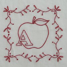 Redwork alphabet - series including all letters A-Z.  Would make a cute kid's quilt!