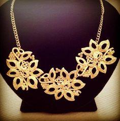 Lujo statement cadena Ikita parís collar esmaltes metal filigrana Flores