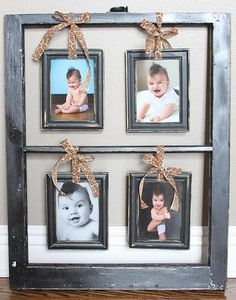 30 Creative Ways To Reuse Old Windows - I like this idea of hanging small picture frames inside the window frames Old Window Frames, Window Art, Window Ideas, Window Panes, Diy Projects To Try, Craft Projects, Craft Ideas, Old Window Projects, Foto Fun