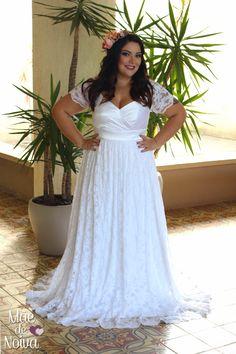 Vestido de noiva de renda, noiva de saia franzida, noiva de saia de renda, noiva de mangas de renda, noiva plus size, noiva decote, noiva império, noiva linda.