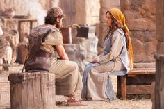Mary speaks with Joseph to tell him of her miraculous pregnancy.