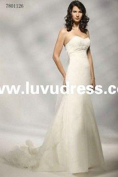GLAMOROUS ORGANZA STRAPLESS SWEETHEART Sheath/Column A-LINE WEDDING Dress