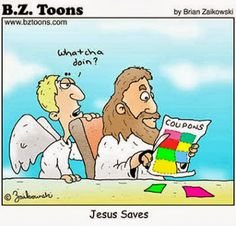 Catholic Humor: Jesus Saves - Cartoon B Taylor This is great lol. Catholic Jokes, Church Jokes, Religious Jokes, Religious Sayings, Jesus Jokes, Jesus Funny, Jesus Humor, Bible Jokes, Christian Cartoons